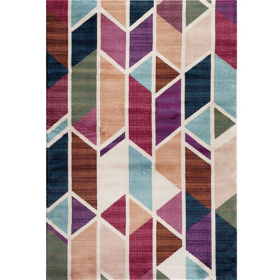 World Rug Gallery Loft Geo Stripe Rectangular Accent Rug