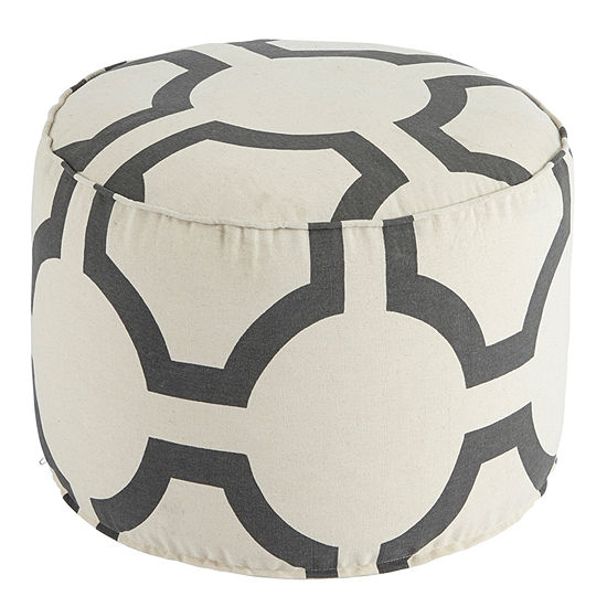 Signature Design by Ashley® Printed Geometric White Pouf