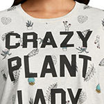 """Crazy Plant Lady"" Cropped Tee - Juniors Plus"