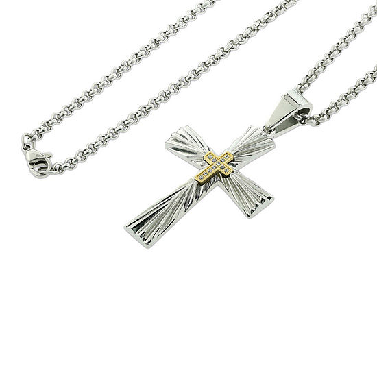 Mens Genuine White Diamond Stainless Steel Pendant