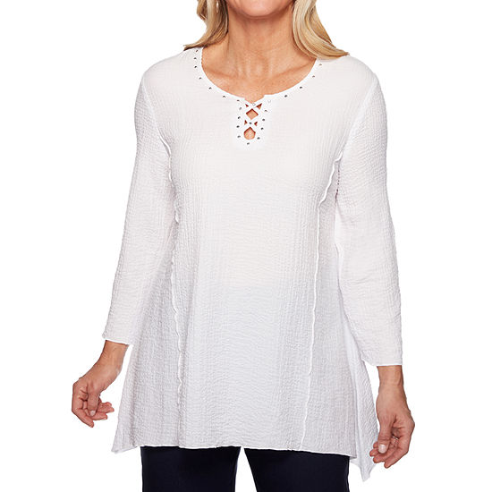 Alfred Dunner In The Navy Womens Round Neck 3/4 Sleeve Tunic Top