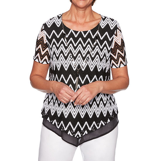Alfred Dunner Caymen Islands Womens Round Neck Short Sleeve Layered Top