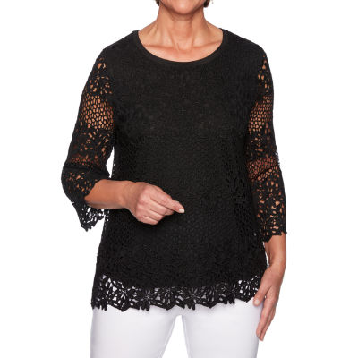 Alfred Dunner Caymen Islands Womens Round Neck 3/4 Sleeve Layered Top