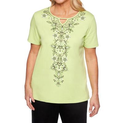 Alfred Dunner Caymen Islands-Womens Keyhole Neck Short Sleeve T-Shirt
