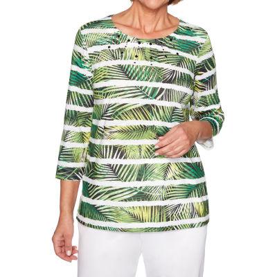 Alfred Dunner Caymen Islands-Womens Round Neck 3/4 Sleeve T-Shirt