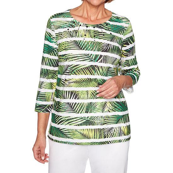 Alfred Dunner Caymen Islands-Womens Crew Neck 3/4 Sleeve T-Shirt