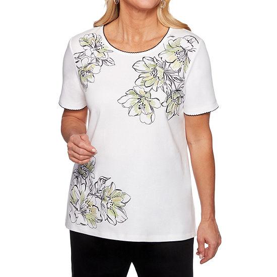 Alfred Dunner Caymen Islands-Womens Round Neck Short Sleeve T-Shirt