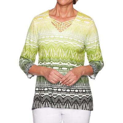 Alfred Dunner Caymen Islands-Womens V Neck 3/4 Sleeve T-Shirt