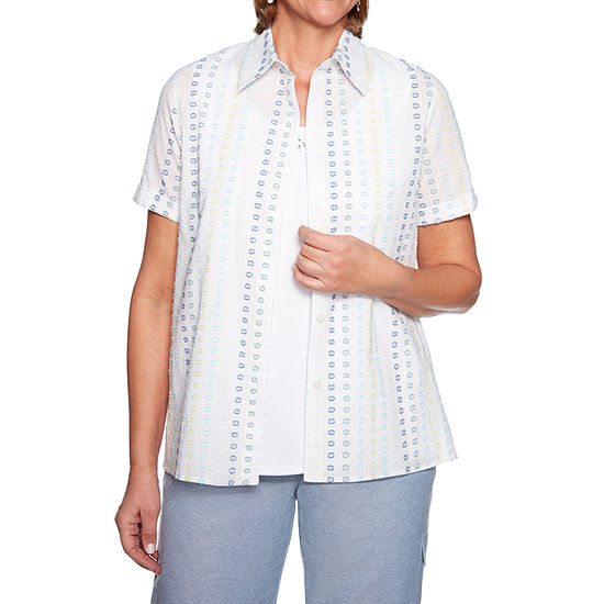 Alfred Dunner Monteray Womens Short Sleeve Layered Top