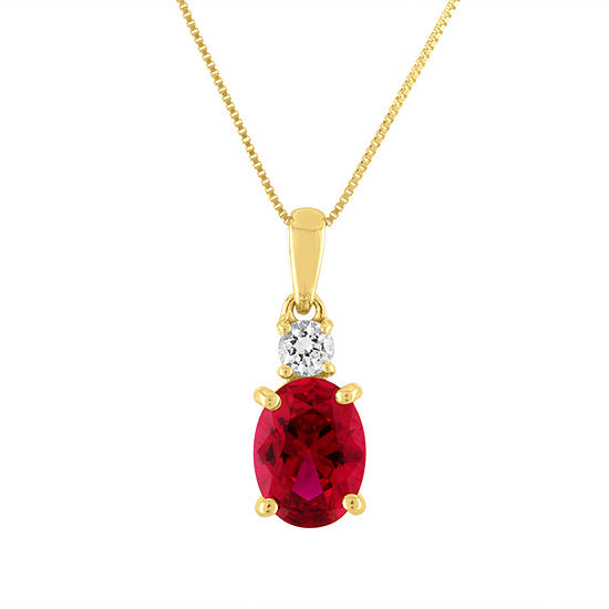 Womens Lab Created Red Ruby 10K Gold Pendant Necklace