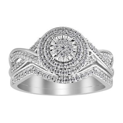 Womens 1/3 CT. T.W. White Diamond 10K White Gold Bridal Set