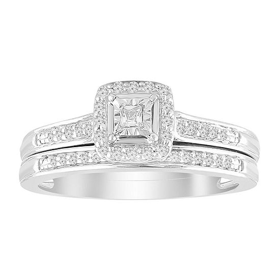 Womens 1/6 CT. T.W. Genuine White Diamond 10K White Gold Bridal Set