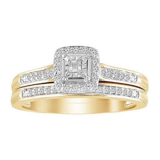 Womens 1 6 Ct Tw Genuine White Diamond 10k Gold Bridal Set