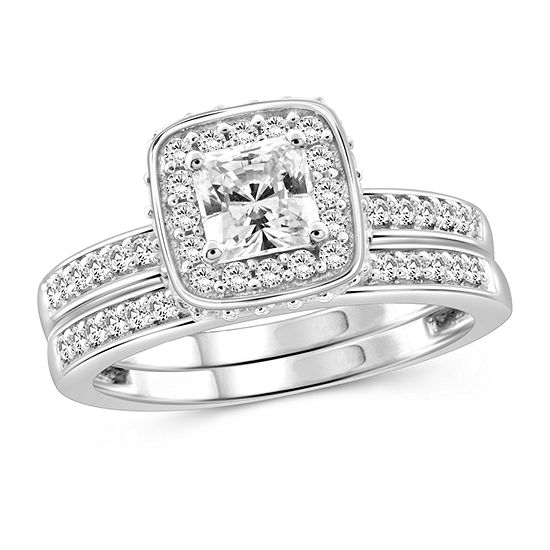 Womens 1 3/4 CT. T.W. White Cubic Zirconia Sterling Silver Engagement Ring