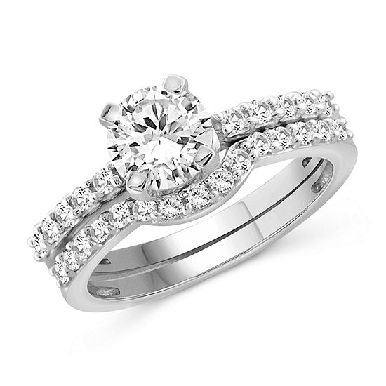 Womens 2 1/2 CT. T.W. White Cubic Zirconia Sterling Silver Engagement Ring