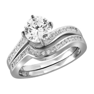 Womens 2 1/4 CT. T.W. White Cubic Zirconia Engagement Ring