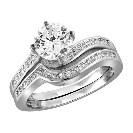 Womens 2 1/4 CT. T.W. White Cubic Zirconia Sterling Silver Engagement Ring
