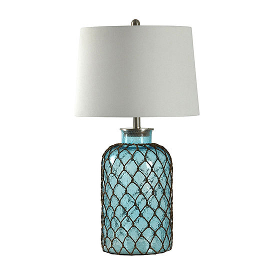 Stylecraft 16 W Blue Glass Table Lamp