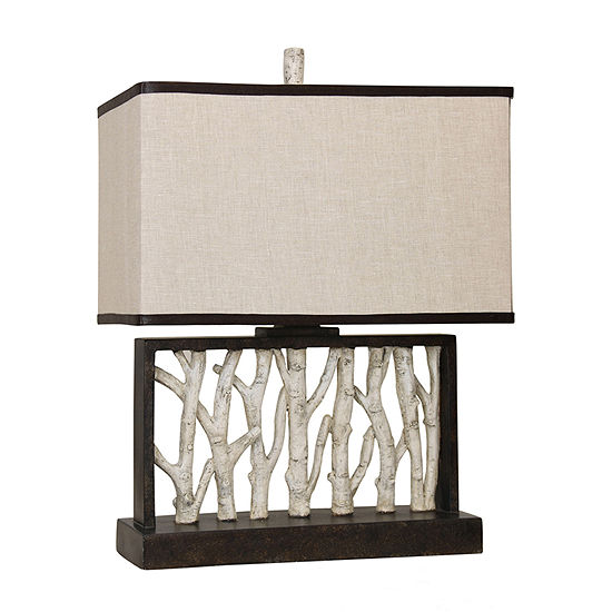 Stylecraft 19.5 W Black And White Polyresin Table Lamp