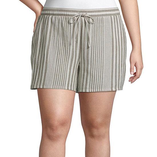 a.n.a Womens Drawstring Waist Soft Short - Plus