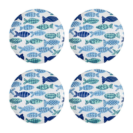 Outdoor Oasis Melamine Fish 4-pc. Melamine Salad Plate