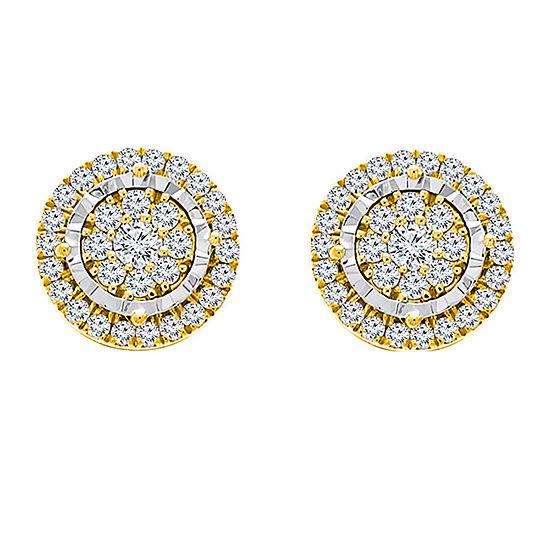 Tru Miracle 1/2 CT. T.W. Genuine White Diamond 10K Gold 6.5mm Stud Earrings