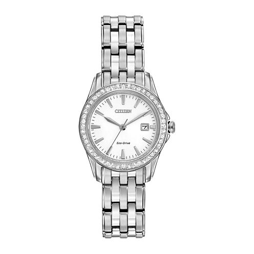 Citizen® Eco-Drive® Womens Silver-Tone Crystal-Accent Watch EW1901-58A