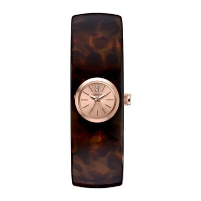 Caravelle New York® Womens Tortoise Shell Bangle Watch 44L139