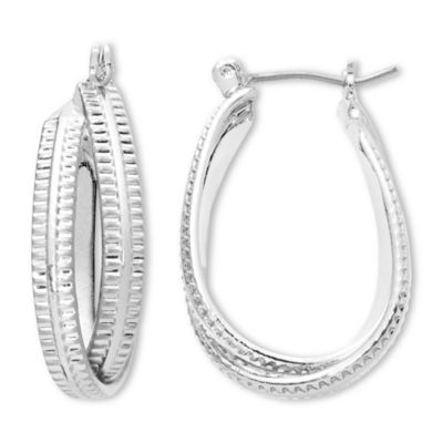 Liz Claiborne® Silver-Tone Textured Twisted Hoop Earrings
