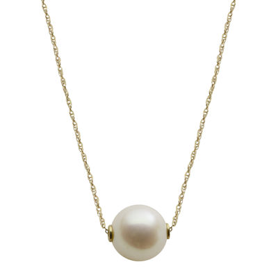 10K Gold Cultured Freshwater Pearl Solitaire Necklace