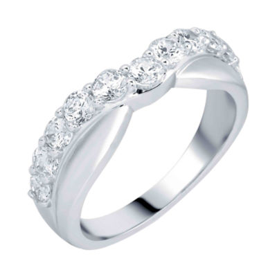 1 CT. T.W. Diamond 10K White Gold Contoured Anniversary Band