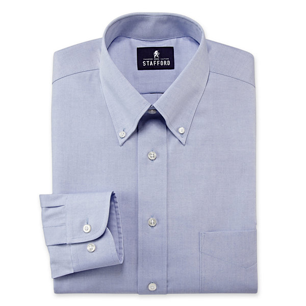 Stafford travel performance pinpoint oxford dress shirt for Stafford dress shirts fitted