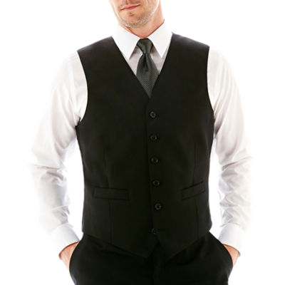 Stafford® Executive Super 100 Wool Black Stripe Black Stripe Suit Vest - Classic