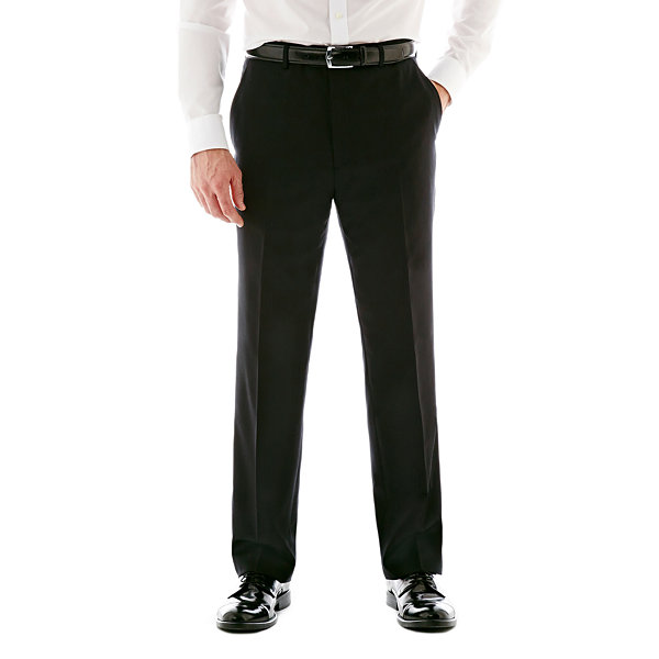 Stafford® Executive Super 100 Wool Black Stripe Flat-Front Suit Pants - Classic