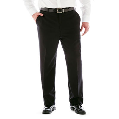 Stafford® Super 100 Black Stripe Flat-Front Suit Pants–Big & Tall