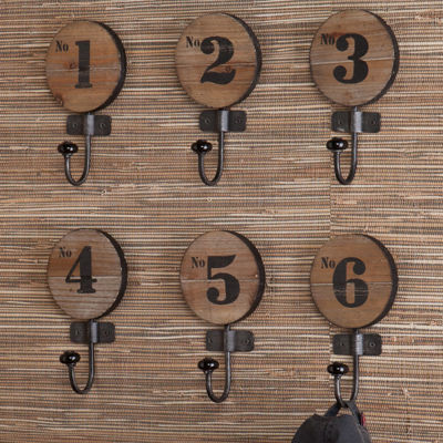 Set of 6 Numbered Wall Hooks