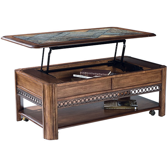 Midwest Lift Top Rectangular Coffee Table With Slate Inlay