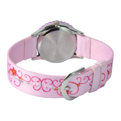 Disney Princess Kids Time Teacher Pink Fabric Strap Watch