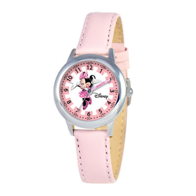 Disney Minnie Mouse Kids Time Teacher Pink Leather Strap Watch