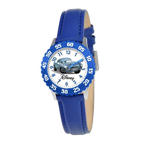 Disney Cars Kids Time Teacher Blue Leather Strap Watch