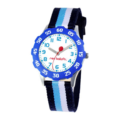 Red Balloon Kids Time Teacher Striped Nylon Strap Watch