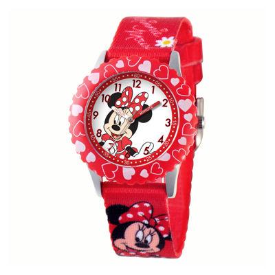 Disney Minnie Mouse Kids Time Teacher Print Fabric Strap Watch