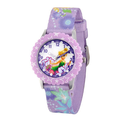 Disney Tinker Bell Kids Time Teacher Crystal-Accent Print Fabric Strap Watch