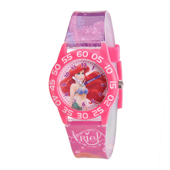Disney Time Teacher Ariel Girls Pink Strap Watch-W001191