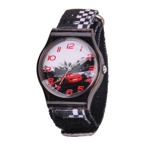 Disney Cars Kids Black Nylon Fast Strap Watch