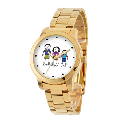 Personalized Stick Figure Family Gold-Tone Stainless Steel Watch