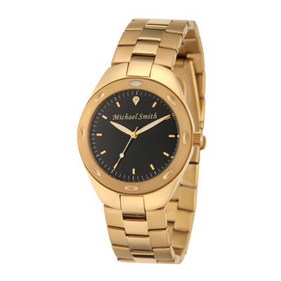 Personalized Dial Mens Gold-Tone Stainless Steel Watch