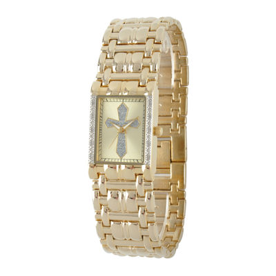 Personalized Mens Diamond-Accent Rectangular Gold-Tone Cross Watch