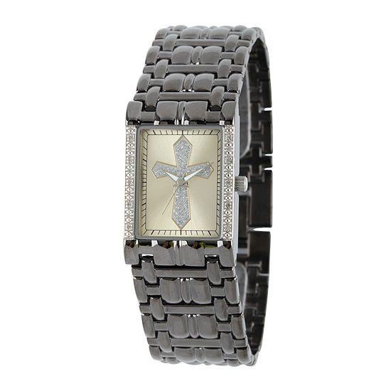 Personalized Mens Diamond-Accent Rectangular Black Cross Watch
