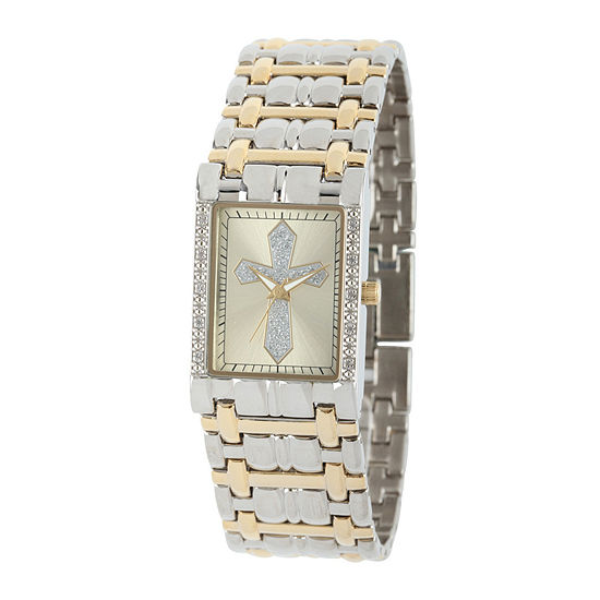 Personalized Mens Diamond-Accent Rectangular Two-Tone Cross Watch